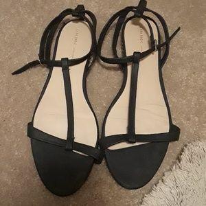 Zara flat black sandal with pyramid studs on heel